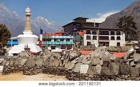 Tengboche Monastery with stupa and prayar wall, the best monastery in Khumbu valley, trek to Everest base camp, Sagarmatha national park, Nepal