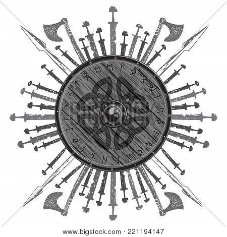 Viking design. The shield of a Viking with runes, battle axes, swords and spears, isolated on white, vector illustration
