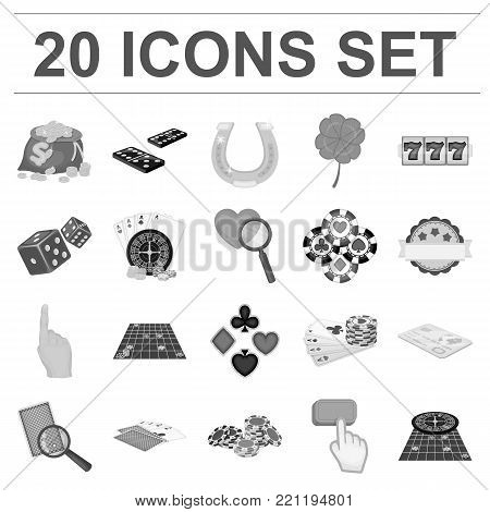 Casino and equipment monochrome icons in set collection for design. Gambling and money vector symbol stock  illustration.