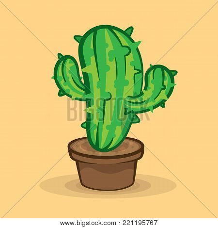Green cactus in pot on beige background vector illustration. House plant green prickly cactus in decorative brown pot on light background vector image