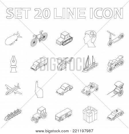 Different types of transport outline icons in set collection for design. Car and ship isometric vector symbol stock  illustration.