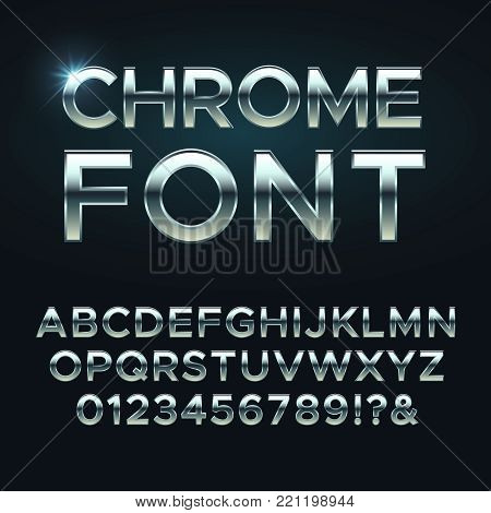 Chrome metal vector font. Steel metallic alphabet letters. Alphabet chrome silver, metal letter illustration