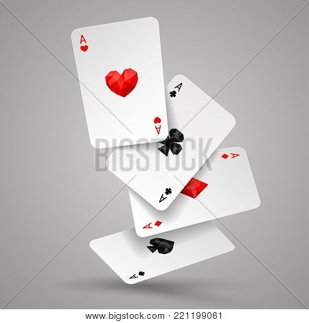 Set of four ace playing card fly or falling. Winning poker hand. JPG include isolated path. eps10