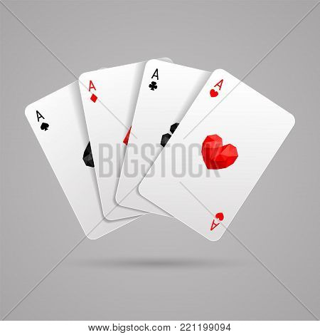 Set of four aces playing card suits. Winning poker hand. JPG include isolated path. eps10