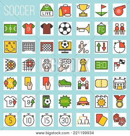 soccer filled icons, rules and elements, goal, match of the day, red card, referee, scoreboard, tournament, first aid, football field, arena, fan club, strategy, whistle, foal, stud shoes, timer
