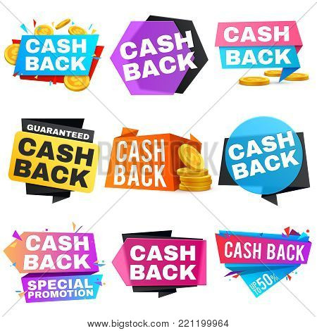 Cash back vector sale banners with ribbons. Saving and money refund icons. Cashback money badge and banner, business warranty illustration