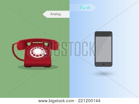 Phone comparing between retro phone in Analog Age and modern phone in Digital Age. Vector illustration design with concept of comparative technologies,  that use for infographic element, website, presentation and printing media.
