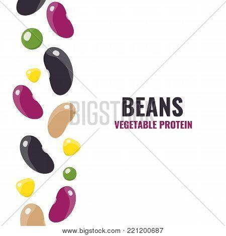 Red beans, white beans, black beans peas corn. Vector illustration