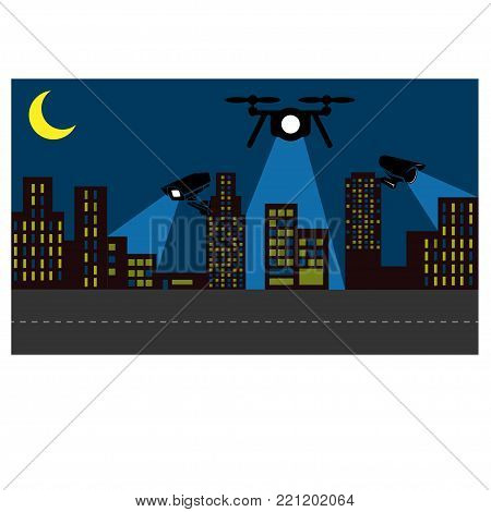 Surveillance operations in an urban area, vector