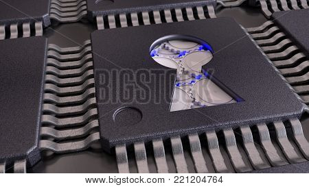 Chip with a keyhole opening reveals blue gears mechanism cybersecurity concept 3D illustration