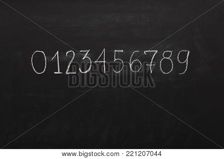 Numbers written with chalk on school blackboard. Learning figures and education background