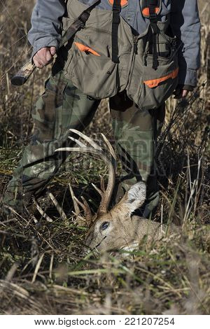 Deer Hunting with a trophy Whitetail Deer