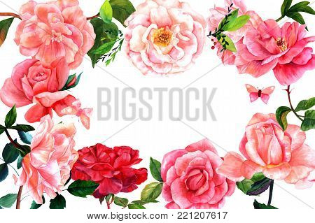 Floral frame with hand drawn watercolor flowers including roses, peonies, camellias, with butterflies and leaves. Vintage style botanical art, isolated on white background, with a place for text