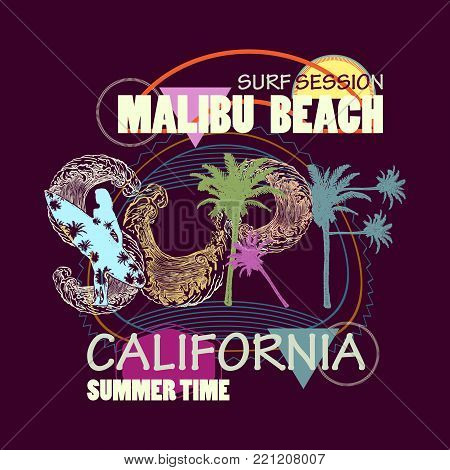Surf t shirt art. Surfing California Malibu beach fashion typography for t-shirt print
