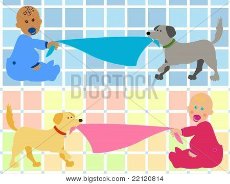 Cartoon Baby With Dog Pulling Blanket