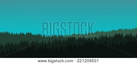 Vector illustration of a coniferous forest with trees under a green blue sky