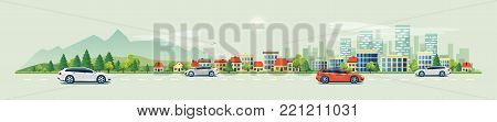 Flat vector cartoon style illustration of urban landscape road with cars, skyline city office buildings and family houses in small town village in backround with forest and mountain. Traffic on the street.