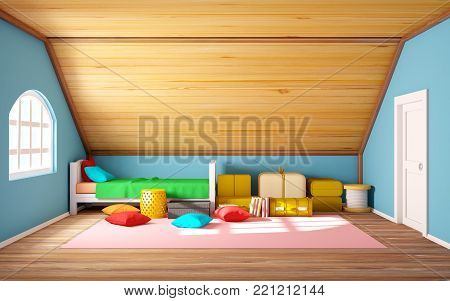 Attic interrior with bed and staff, cartoon 3d illustration.
