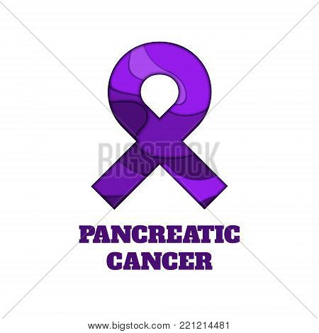 Pancreatic cancer awareness poster. Purple ribbon made in 3D paper cut and craft style on white background. Medical concept. Vector illustration.