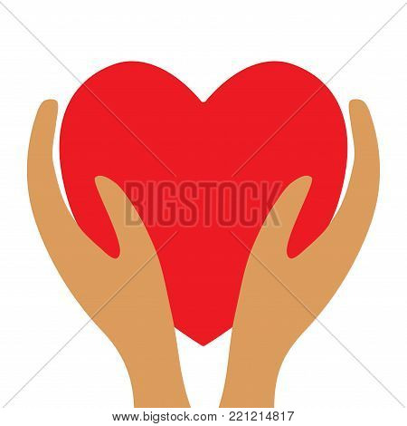 Red heart in hands sign. Beautiful color icon isolated on white background. Mark of decoration love holiday. Concept of safety. Lovely save symbol. Logo 4 romantic celebration or health. Stock vector