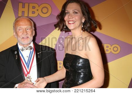 LOS ANGELES - JAN 7:  Buzz Aldrin, Maggie Gyllenhaal at the HBO Post Golden Globe Party 2018 at Beverly Hilton Hotel on January 7, 2018 in Beverly Hills, CA