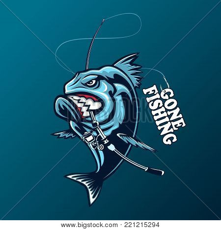 Tuna big fishing on white logo illustration. Vector illustration can be used for creating logo and emblem for fishing clubs prints web and other crafts.