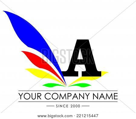 A Letter Wings Logo Design Icon. Flying Wing Letter Logo with Creative Black Wing Concept.