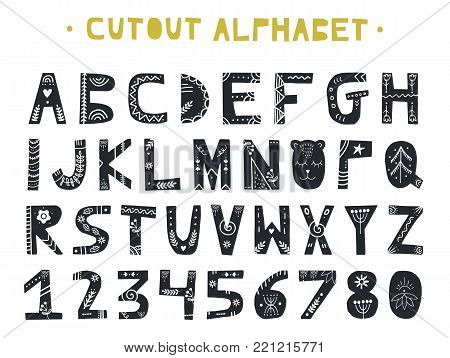 Cutout ABC - Latin alphabet. Unique handmade letters folk art ornament in scandinavian style. Vector illustration.