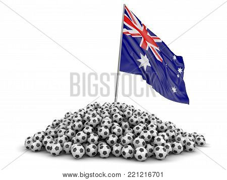 3d illustration. Soccer footballs with Australian flag. Image with clipping path