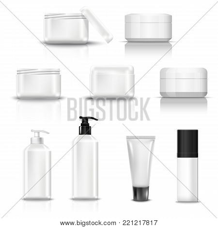 Set vector blank templates of empty and clean white plastic containers bottles with spray, dispenser and dropper, cream jar, tube. Realistic 3d mock-up of cosmetic package.