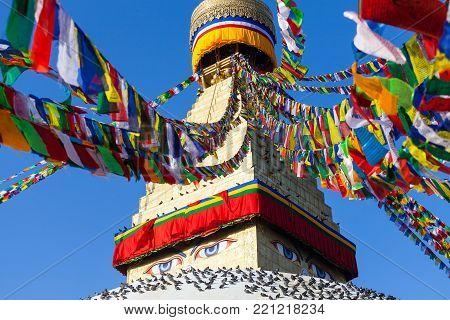 Boudhanath Stupa in the Kathmandu valley, Nepal.