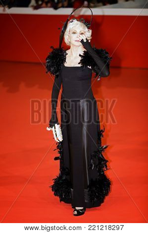 Rome, Italy - October 26, 2017: Marina Ripa Di Meana walks a red carpet for Hostiles during the 12th Rome Film Fest at Auditorium Parco Della Musica.