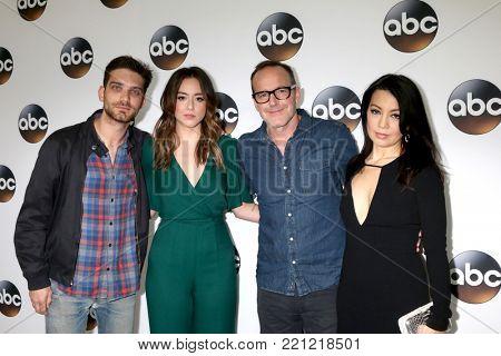 LOS ANGELES - JAN 8:  Iain De Caestecker, Chloe Bennet, Clark Gregg, Ming-Na Wen at the ABC TCA Winter 2018 Party at Langham Huntington Hotel on January 8, 2018 in Pasadena, CA