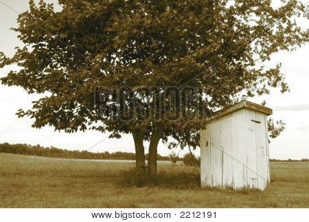 Old Outhouse In Sepia
