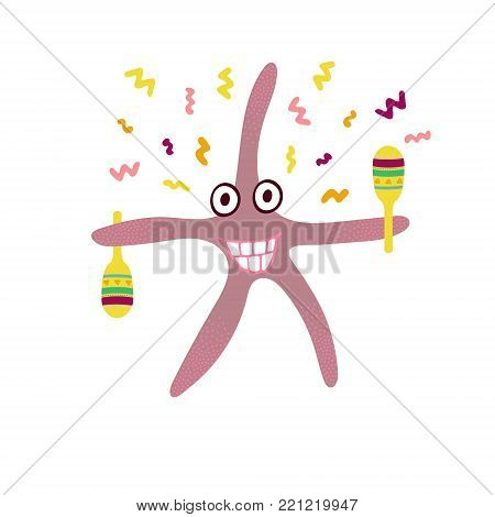 Ridiculous hand-drawn starfish with maracas on the white background.