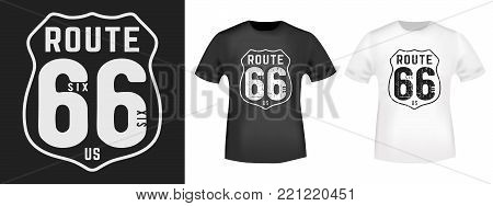 T-shirt print design. Route 66 vintage stamp and t shirt mockup. Printing and badge applique label t-shirts, jeans, casual wear. Vector illustration.