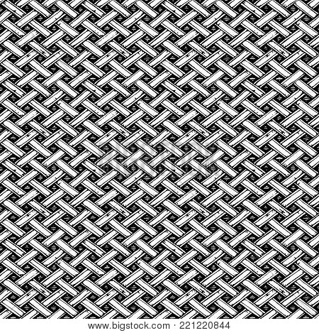 Basket weave seamless pattern in ink hand drawn style.