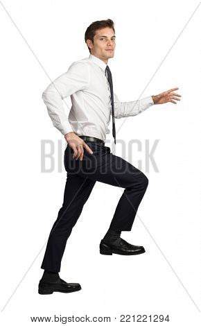 businessman move up  isolated on white background