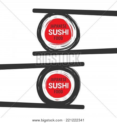 Set of hand drawn scribble colorful scribble sushi logo with chopsticks, vector design elements