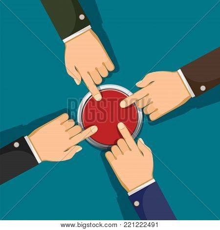 Human hands push the red button. Business startup and cooperation. Stock vector flat graphics Illustration.