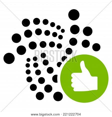 Thumb Up Iota flat vector pictogram. An isolated icon on a white background.