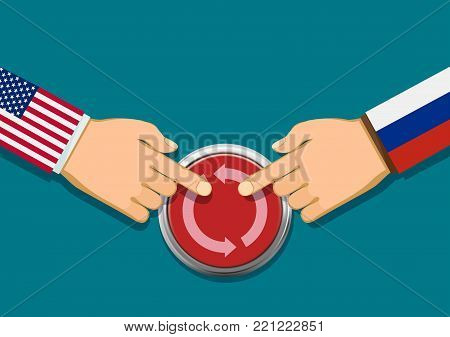Presidents of the USA and Russia press the red button of the restart of relations. Stock vector illustration.