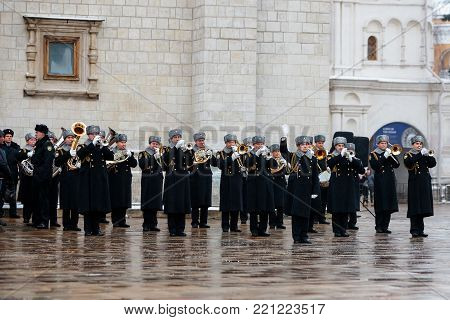 MOSCOW, RUSSIA - DECEMBER 09, 2017: The President's Band of the Service of Moscow Kremlin's Commandant of the Federal Guard Service of the Russian Federation.  Cathedral Square, Kremlin, Moscow.