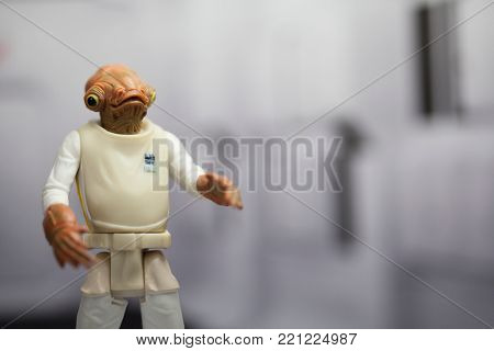 NEW JERSEY USA - JAN 4 2018: Star Wars Rebel Admiral Ackbar who's famous for saying It's A Trap! in Return of the Jedi - using Hasbro Action Figure