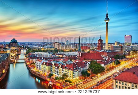 BERLIN, GERMANY, MAY 2016: Aerial view of the city skyline at night.