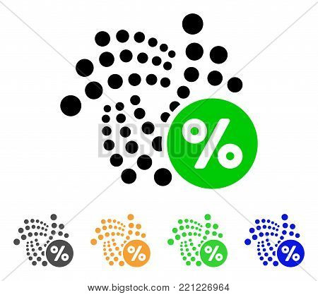 Iota Percent icon. Vector illustration style is a flat iconic iota percent symbol with grey, yellow, green, blue color variants. Designed for web and software interfaces.