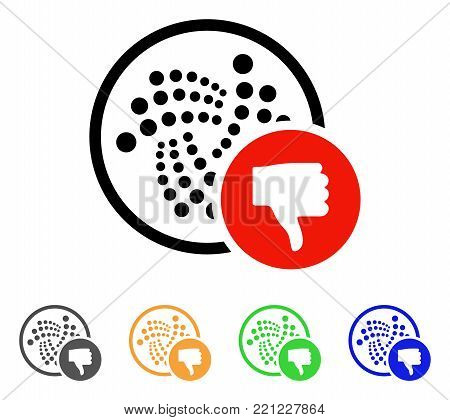 Iota Thumb Down icon. Vector illustration style is a flat iconic iota thumb down symbol with gray, yellow, green, blue color variants. Designed for web and software interfaces.