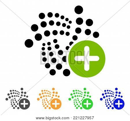 Append Iota icon. Vector illustration style is a flat iconic append iota symbol with gray, yellow, green, blue color versions. Designed for web and software interfaces.
