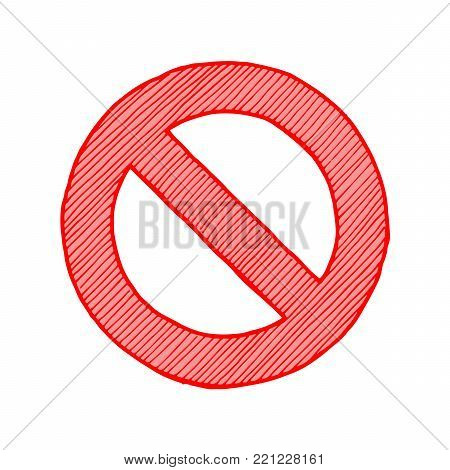 Vector hand drawn illustration of circle-backslash symbol in vintage engraved style. isolated on white background.