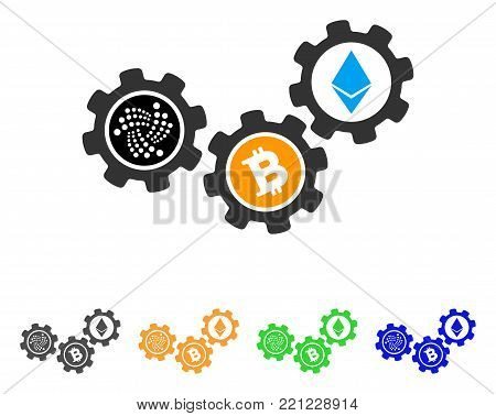 Iota Cryptocurrency Gears icon. Vector illustration style is a flat iconic iota cryptocurrency gears symbol with grey, yellow, green, blue color variants. Designed for web and software interfaces.